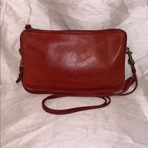 Vintage Coach Red Wristlet/Shoulder Bag NYC #6540